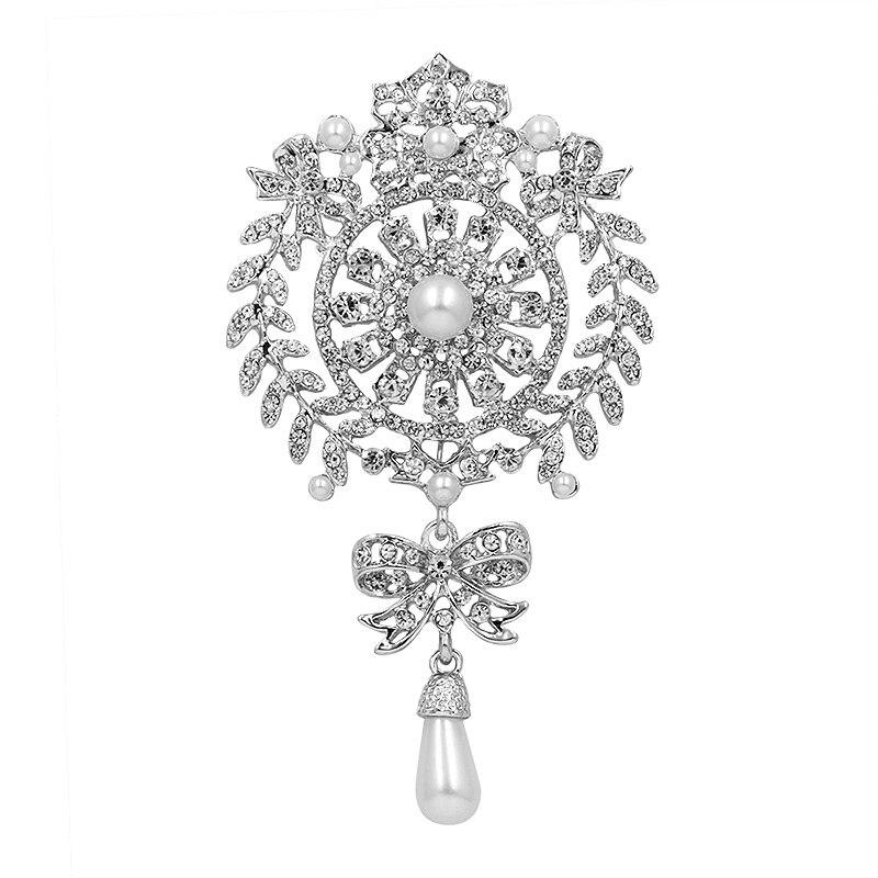 Vintage Waterdrop Brooch White Imitation Pearl Women