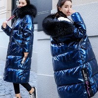 Зимние парки пальто Для женщин вниз хлопковая куртка с капюшоном меховой воротник утепленные стеганые куртки зимняя теплая куртка женские
