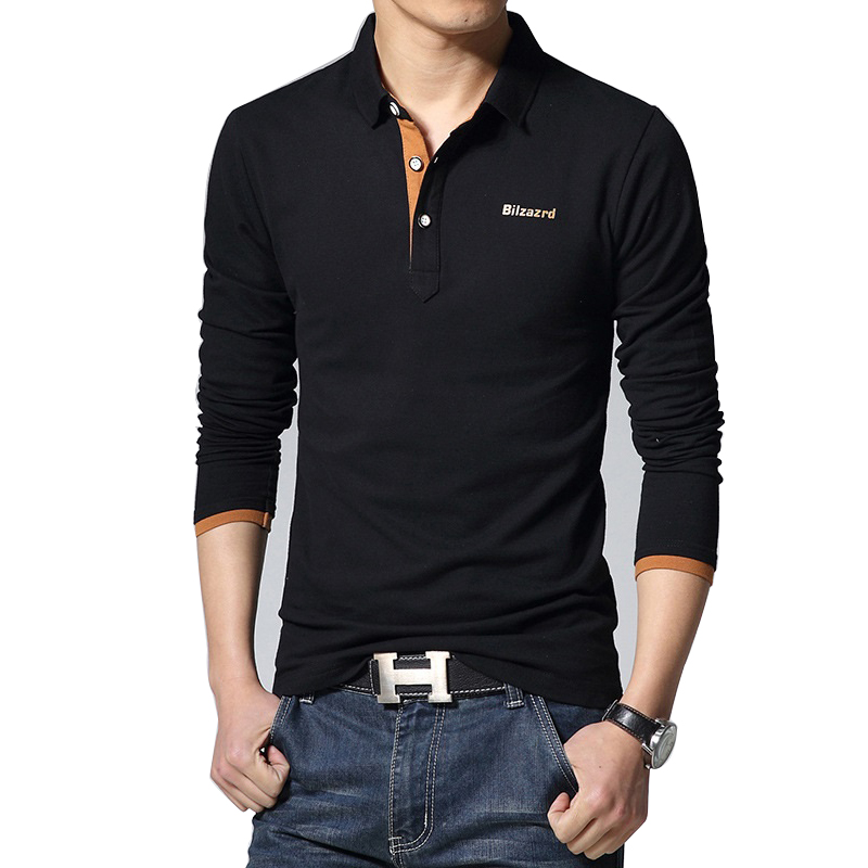 Autumn Fashion New Solid Color Casual Shirt   Polo   Shirt Men Long Sleeve Men's Lapel Para Hombre Crocodile