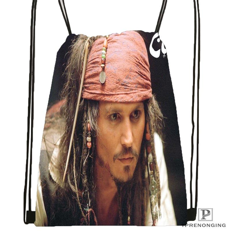 Custom Johnny Deep Drawstring Backpack Bag For Man Woman Cute Daypack Kids Satchel (Black Back) 31x40cm#180531-01-22