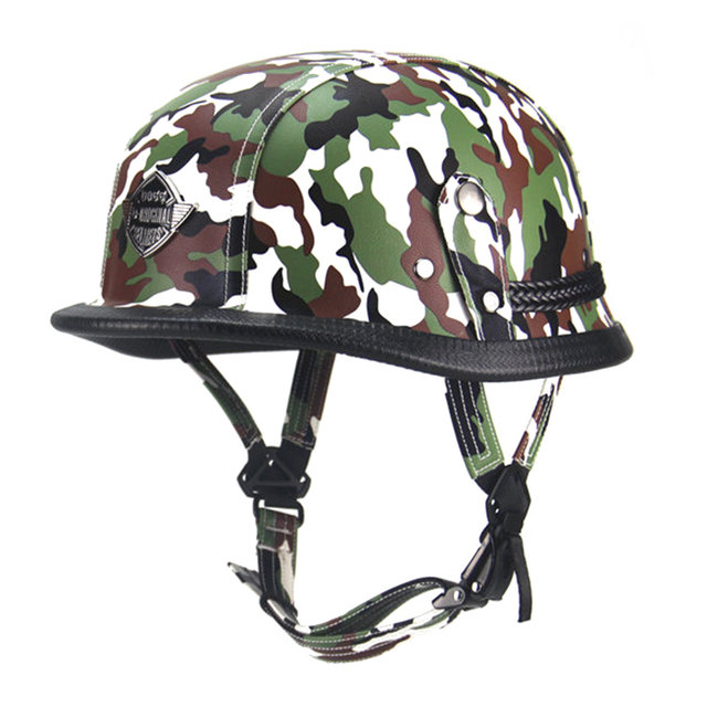 New German Retro Vintage Style Camouflage Open Face Half Helmet Motorcycle Cruiser Chopper Cafe Racer Casco Moto
