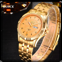 2016 BOSCK Calendar Gold font b Quartz b font Watch Men Clock font b Top b