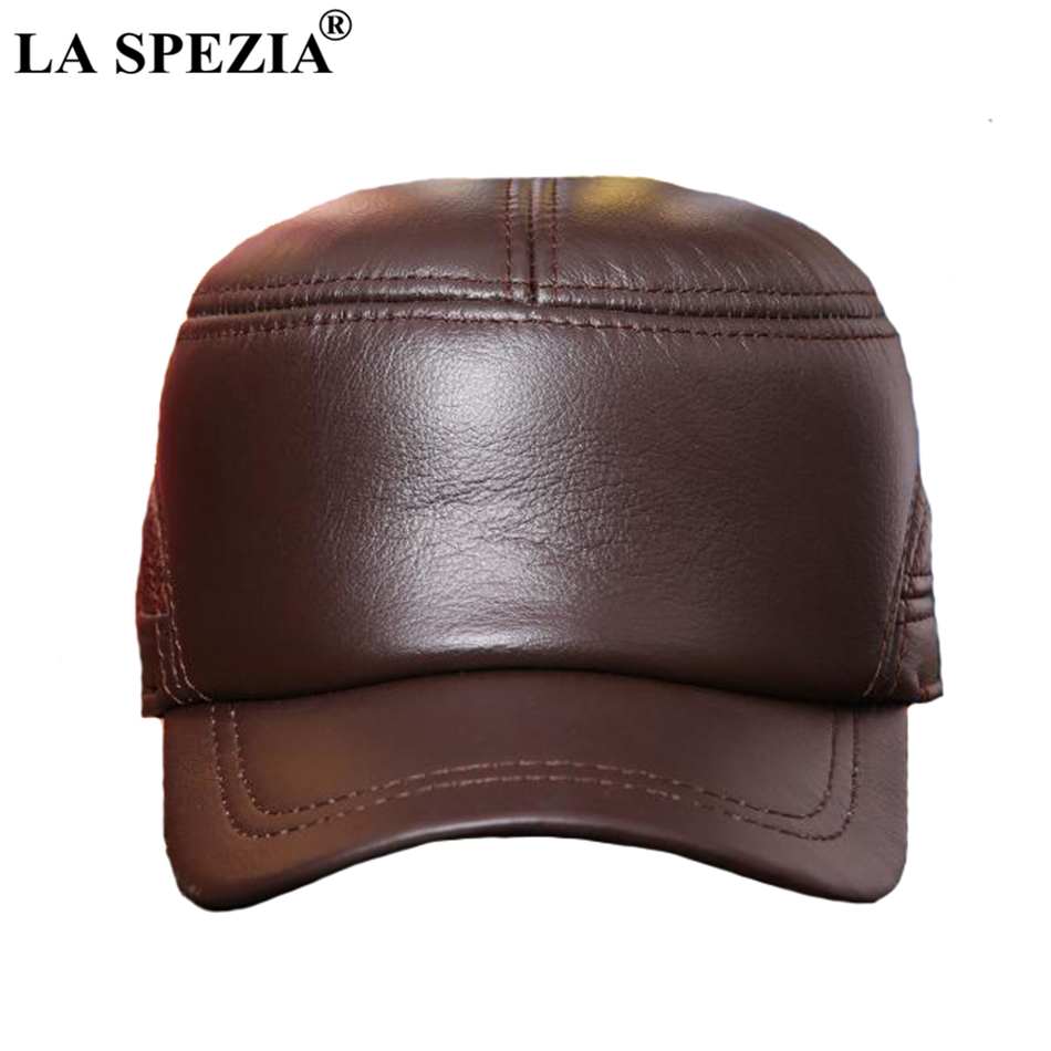 4ad63d34fe8 Feature  Genuine Cow Leather Military Caps   Casual Army Cap   Classic Flat  Top Cap
