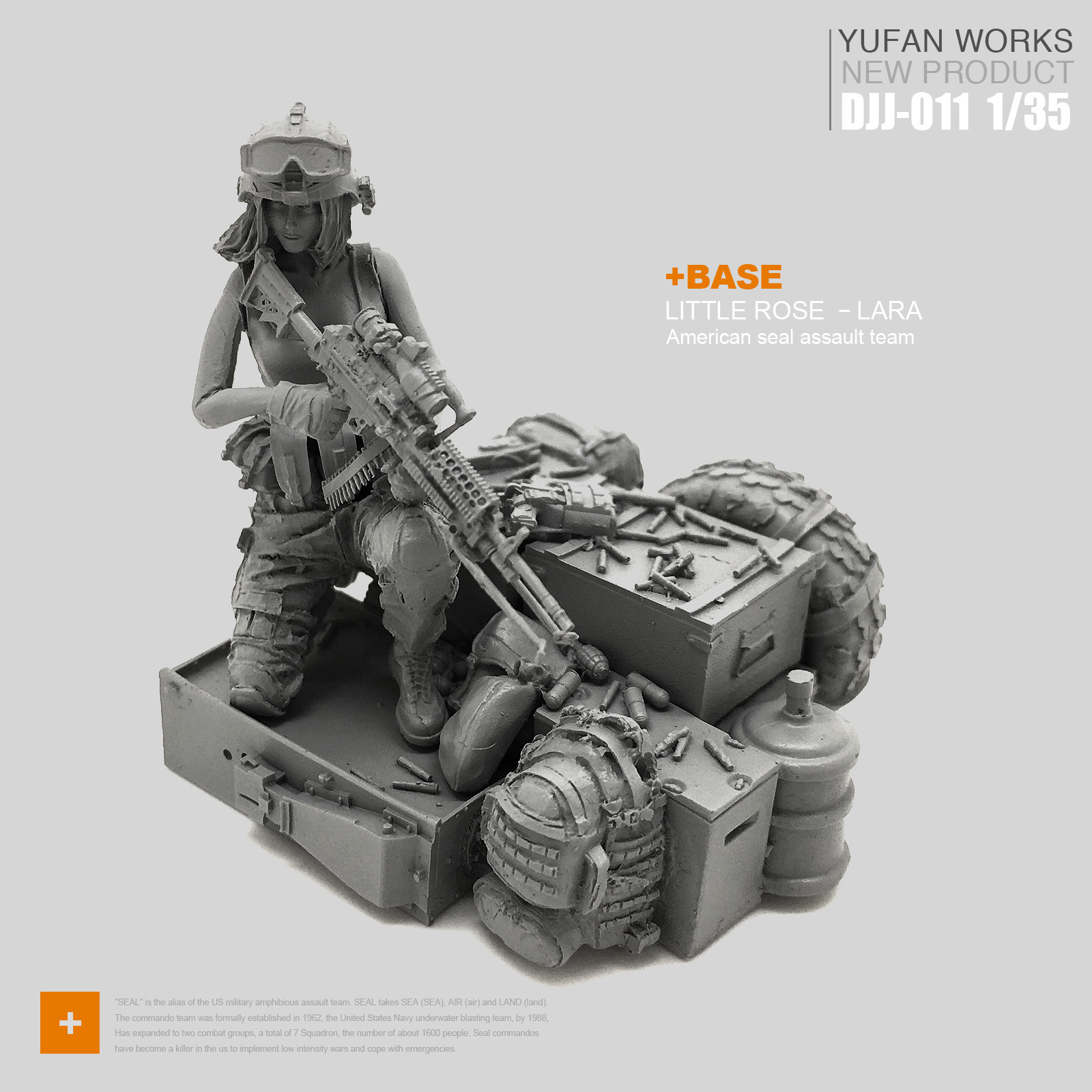 Yufan Model 1/35 Female Soldier And Platform Female Soldier Seals  Djj-11
