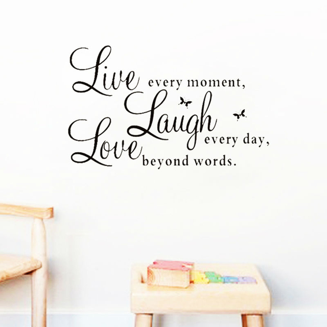 % live laugh Live Love quotes diy wall decals home decorations adesivo de paredes removable diy butterfly wall stickers bedroom