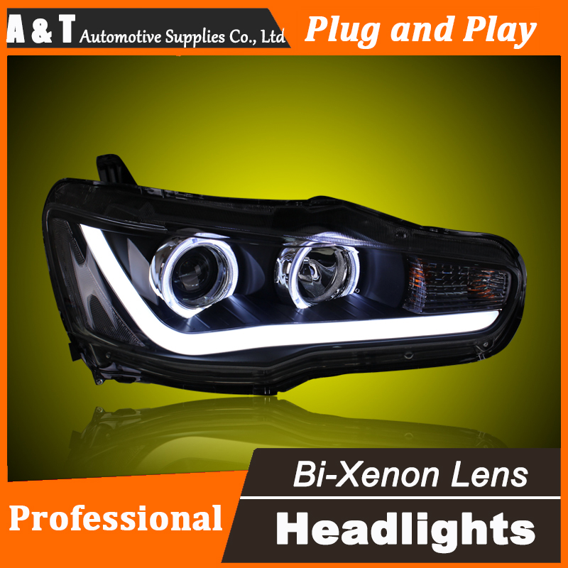Car Styling for Mitsubishi Lancer EX Headlight assembly LED Headlight Lens Lancer Double Beam H7 with hid kit 2 pcs. hireno headlamp for mercedes benz w163 ml320 ml280 ml350 ml430 headlight assembly led drl angel lens double beam hid xenon 2pcs
