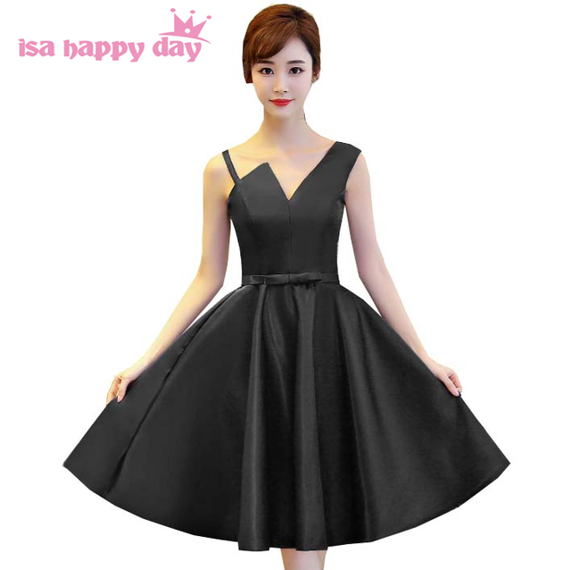24b2403f5b0 sweet sixteen women formal short fitted party homecoming dresses black color  modest straps satin ball dress under 100 H4130