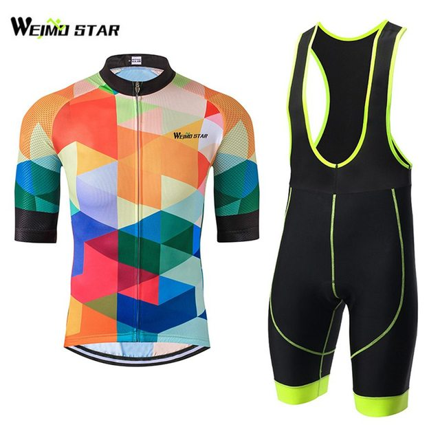 Clolorful T-Shirt Cycling Jersey WEIMOSTAR Men Bike Jersey Half Sleeve  Outdoor Cycling Bib Shorts Gel Padded Suit c7756421e