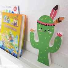 Nordic Cute Cartoon Cactus Fox Ins Wood Wall Stickers Hooks Children Kids Baby Room Home Living Decoration 1pc
