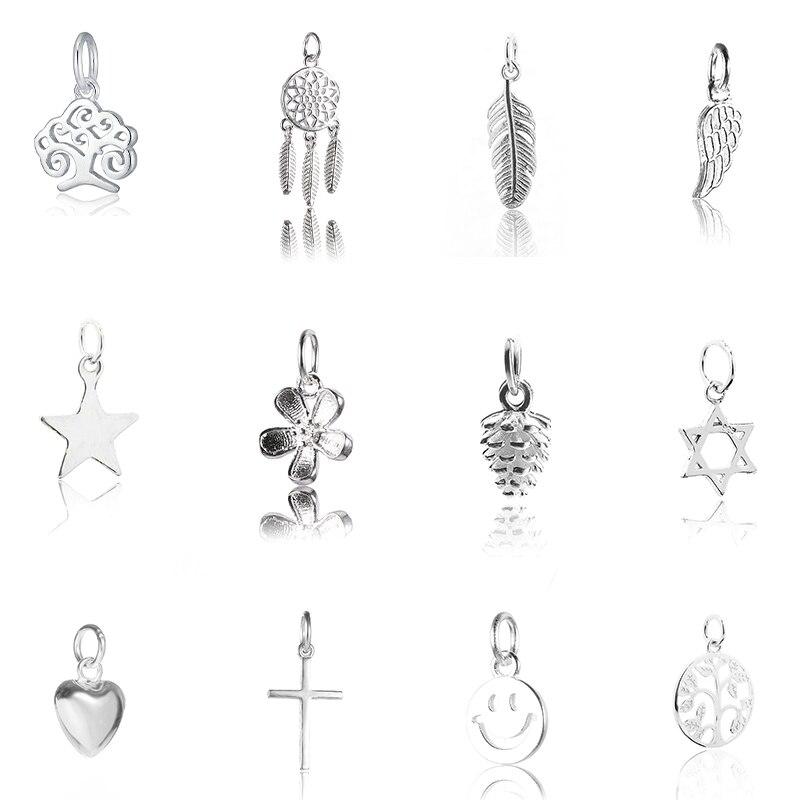 3426b544bacc Venta caliente colgante de plata de ley 925 colgante de dijes para mujer  joyería de plata collar pulsera pendiente diy 12 estilos