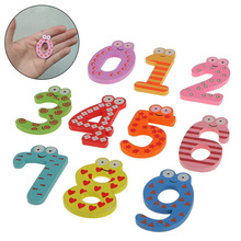 10pcs Wooden Digital Number Fridge Magnets Childrens Early Learning Educational Maths Toy Refrigerator Stick