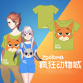 3D design  Zootopia Nick and Judy Couple Cosplay t-shirt summer top tshirt in stock free shipping 2016