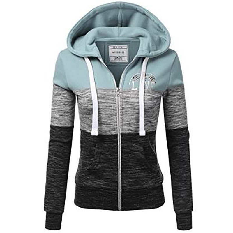 Automne printemps femmes décontracté à manches longues fermeture éclair poche couture sweat à capuche grande taille veste femme S-5XL
