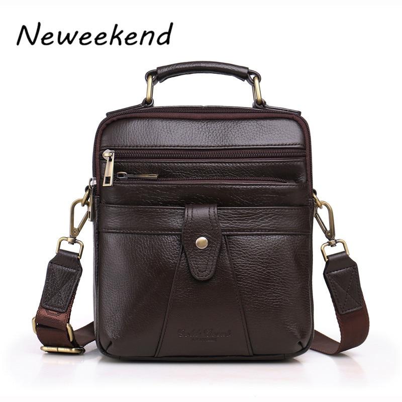 NEWEEKEND Vintage Genuine Leather Oil Wax Portable Soft Zipper Pockets Shoulder Crossbody Messenger iPad Mini Bag Man LZ S036