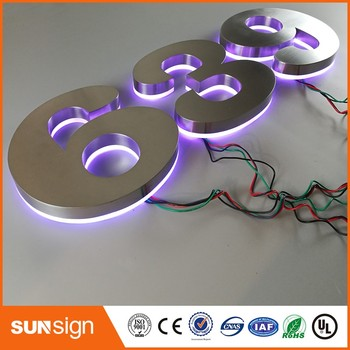 Wholesale brushed Stainless steel LED digital house number 0-9 Shape steel d thurston house