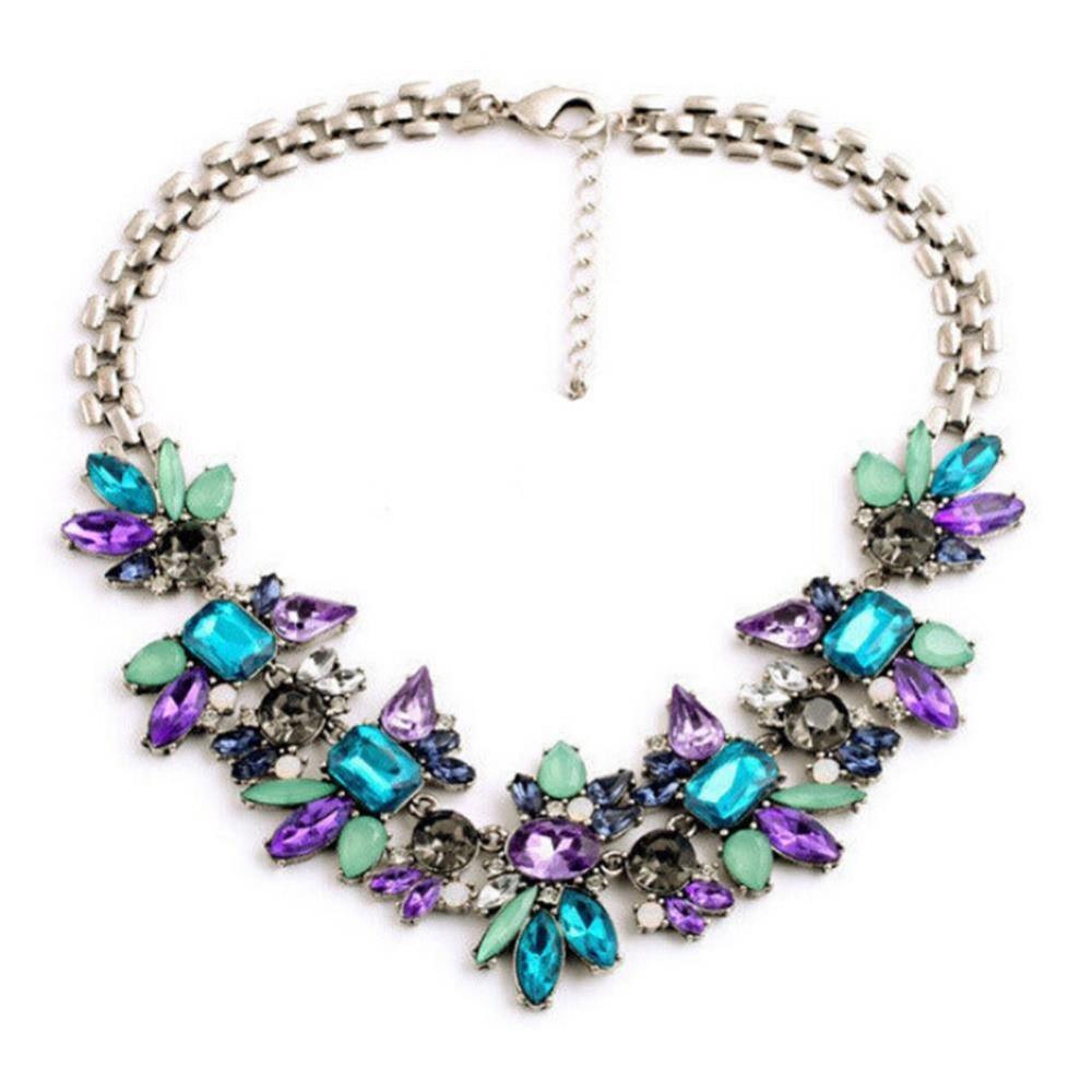 Élégant femme cristal faux perle fleur Choker Déclaration Collier Chaîne Collier Sautoir