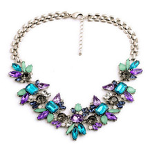 Elegant Gold Plated Choker Necklace Crystal Gem Flower Statement Necklace Clavicle Chain Necklace For Women Jewelry