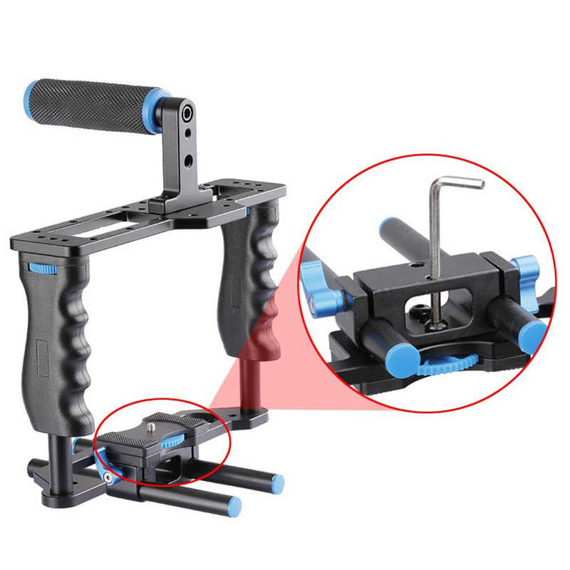 Dslr Rig Video Stabilizer Schouder Mount Rig + Matte Box + Follow Focus + Dslr Kooi Voor Canon Nikon Sony dslr Camera Video Camcorder