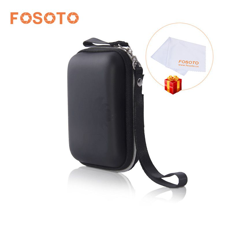 fosoto New Portable Mini Hard Storage Bag Shoulder Strap EVA/PU Bags for Earphone Headphone SD Cards Cable Cord Wire Coin Purse