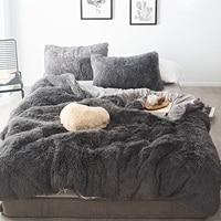 46 Pure Color Mink Velvet Bedding Sets 20 colors lambs wool Fleece Flat Sheet Duvet Cover Fitted Sheet Queen King size 4/6/7pcs