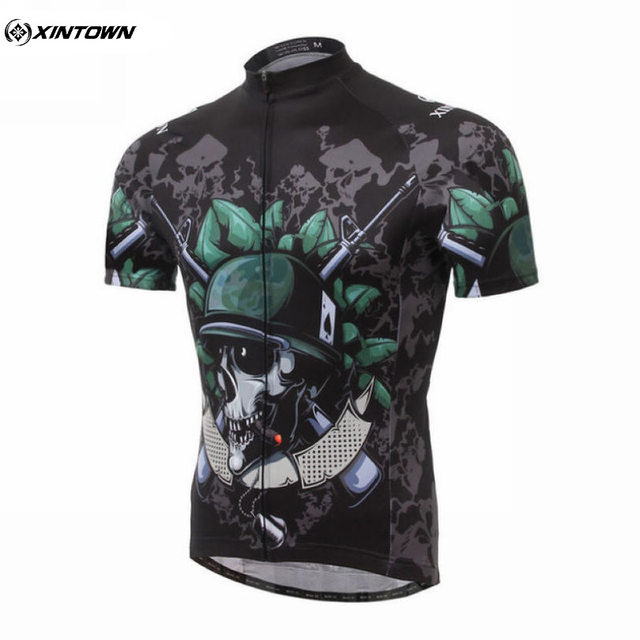 XINTOWN Skeleton Soldier Men s Team Summer Short Sleeve Cycling Jerseys  Bike Tops MTB Cycle Bicycle Clothing f13b9fbce