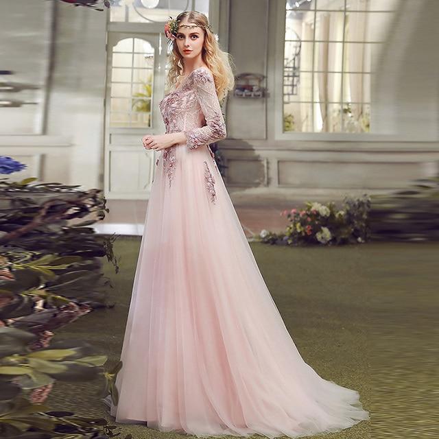 Ziemlich Rosa Abendkleid mit 3D Blumen Langarm Spitze Sexy ...