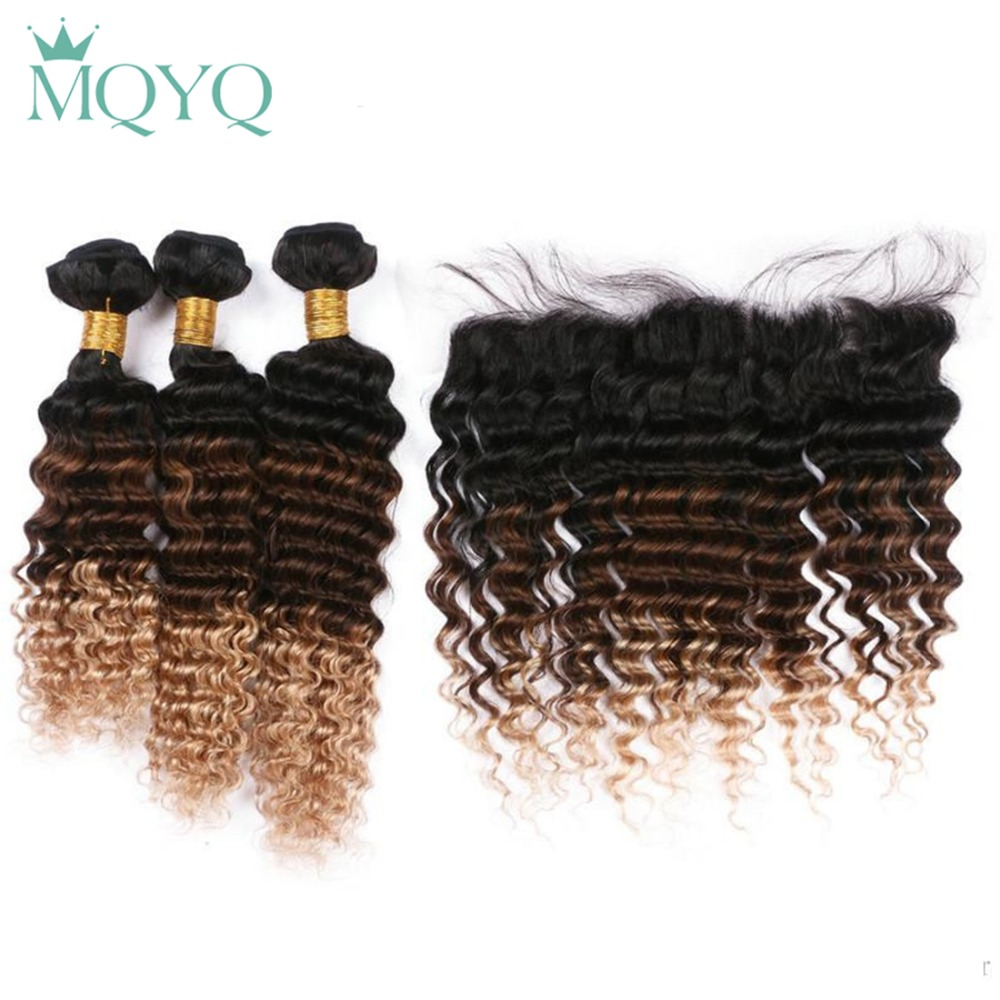 MQYQ Pre Colored Human Hair Weave 3 Bundles With Frontal 1b/4/27 Ombre Indian Deep Wave With Closure Dark Root Brown Blonde Hair