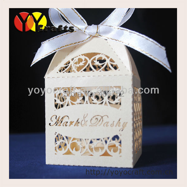 large 6*6cm gift boxes baby shower,laser cut indian gift boxes for wedding with ribbon free logo or name on the boxes