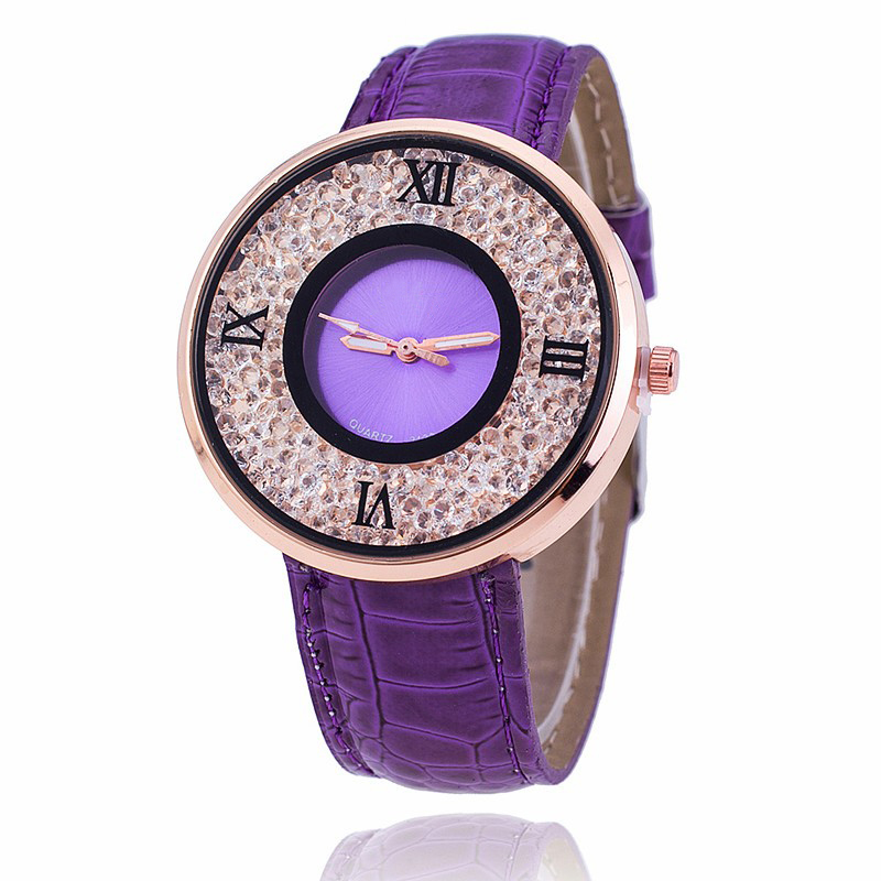 Vansvar Brand Fashion Women Rhinestone Watches Luxury Leather Women Dress Watch Casual Quartz Watches Relogio Feminino 613 6
