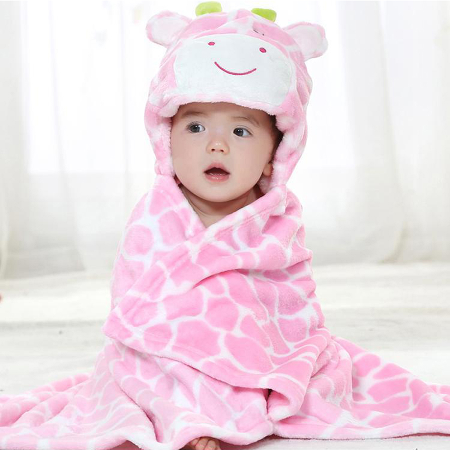 Giraffe Bear Shaped Baby Hooded Bathrobe Soft Infant Newborn Bath Towel Blanket DS49