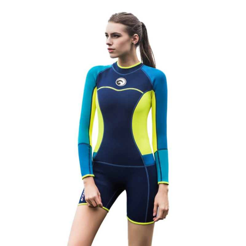 Women Swimsuit 1.5mm Neoprene Wetsuit Elastic Colour Surf Diving Equipment Suit Long-Sleeved One Piece Fitted Warm Surfing