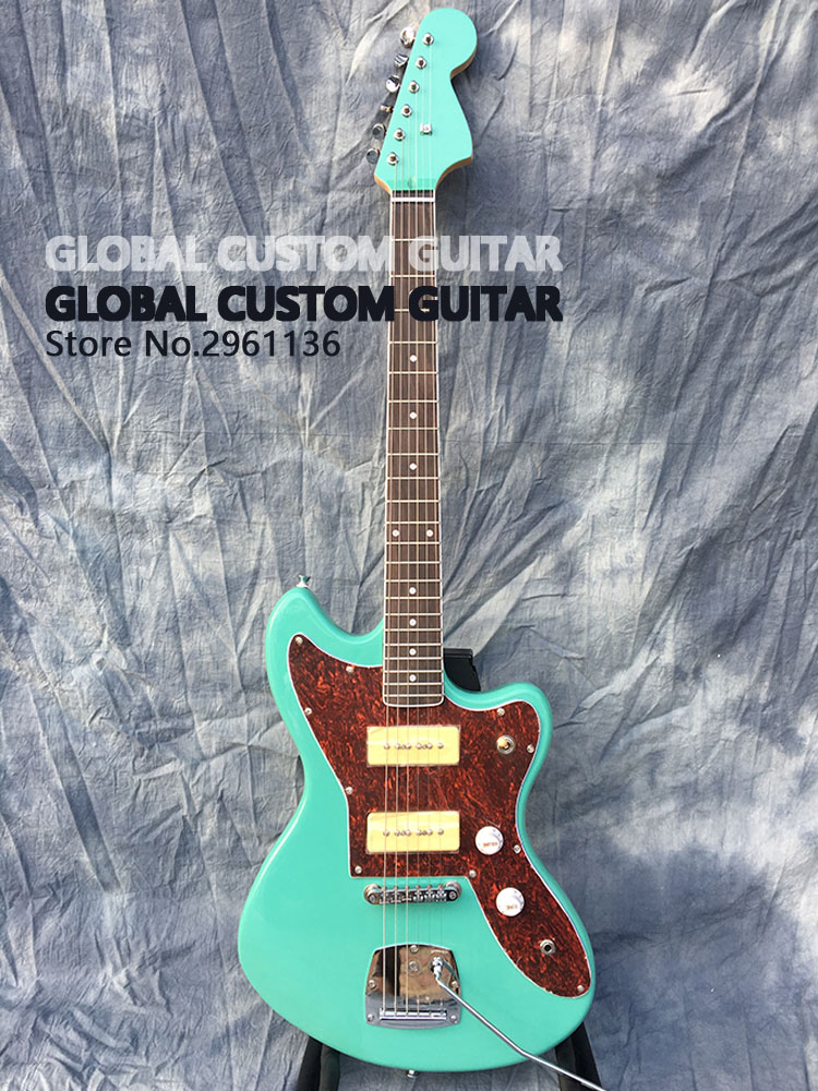 Jazzmaster deluxe Jaguar Electric guitar,S P90 pickups,color of the green sea,All color Available,Real photo showing,free ship!