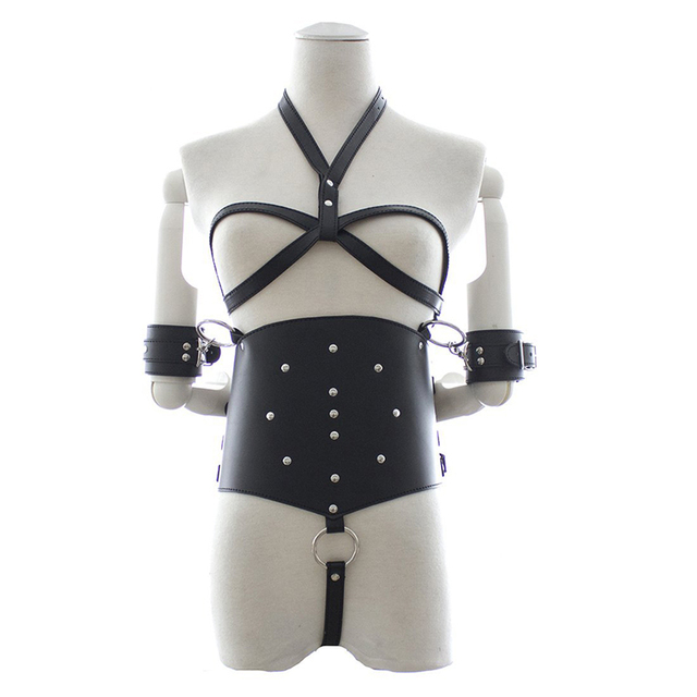 Femaleslave with Handcuff and Waist restraints, Leather Breasts Bondage Restraints Bdsm Bondage Women Sex Toys For Female
