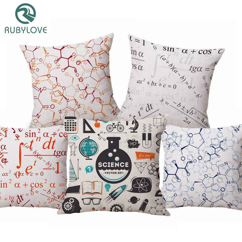 RUBYLOVE Cushion Covers Geometric Math Chemistry Formula Print Pillow Cover Decorative Pillow Case For Sofa Seat