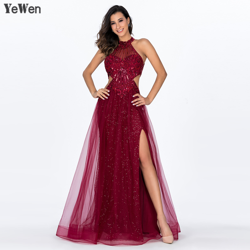 2018 Red Sexy Lace   Evening     Dresses   Long High Split Backless Sleeveless Tulle Gowns for Wedding Party Robe de Soiree longue
