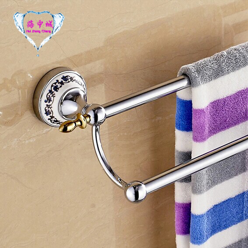 Free shipping  60cm Blue & White Porcelain Double Towel Bar Golden finishTowel Holder,towel rack,Bathroom accessories