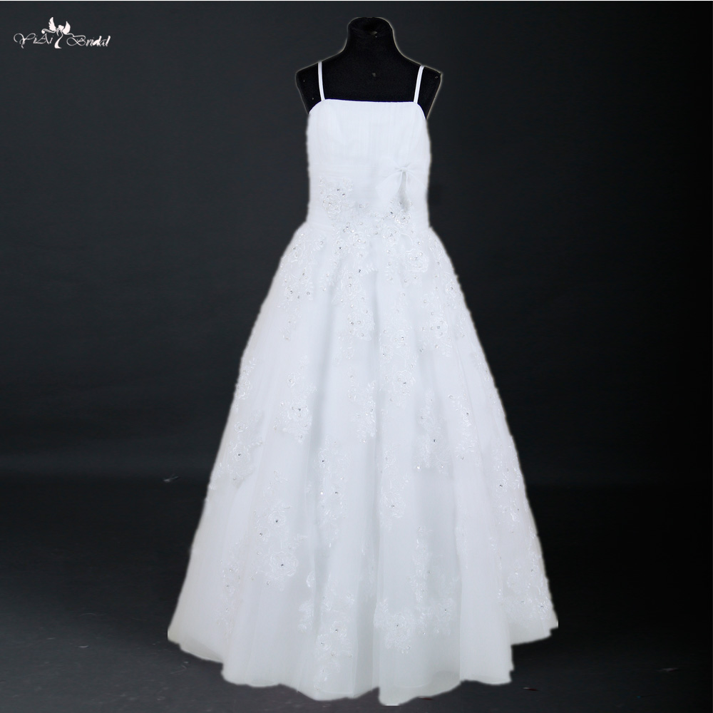 FG34 Lace Up Back White Lace Puffy Tulle Skirt   Flower     Girl     Dresses   For Weddings