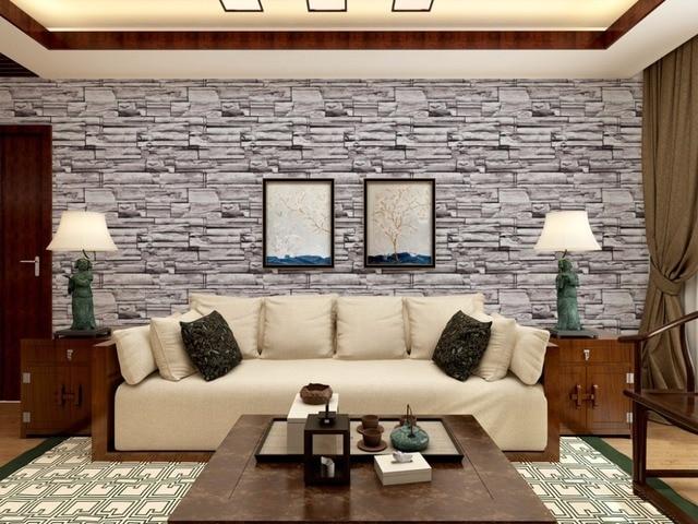 3 Farben Retro Nachahmung Ziegel Stein Muster Tapete Wohnzimmer 3D
