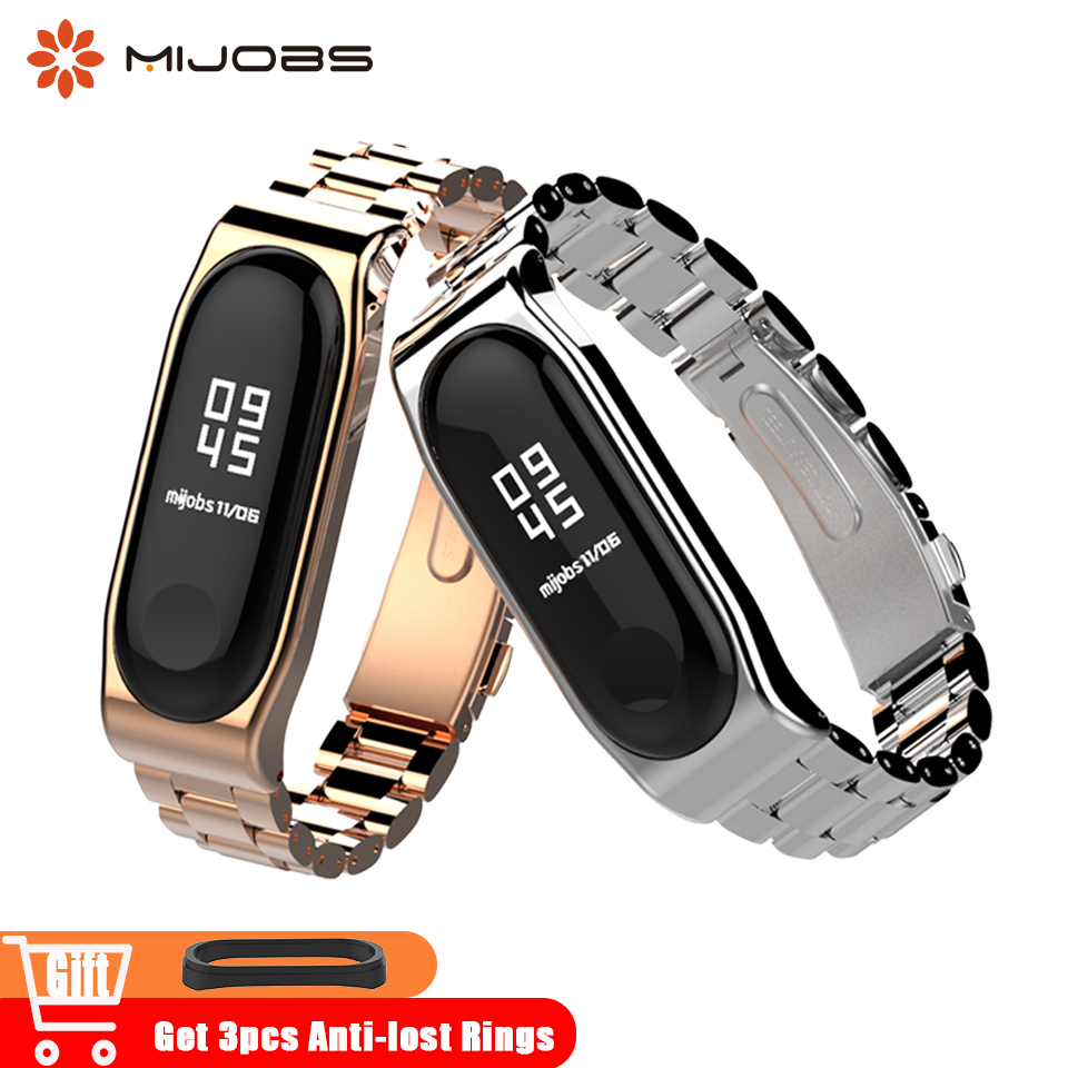Mijobs Metal Mi Band 3 Wrist Strap Stainless Steel Bracelet for Xiaomi mi Band 3 Smart Band Watch Miband 3 Accessories Wristband ingersoll i01002