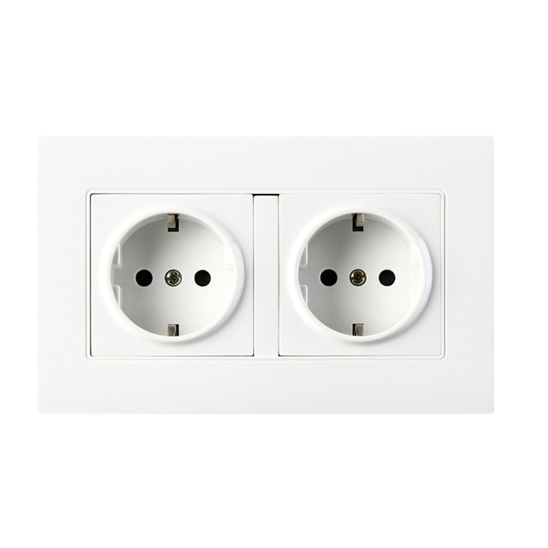 Dual Socket Plug Wall Power Grounded, 16A 250V EU Standard Electrical Double Outlet 146 mm* 90 mm coswall high quality wall power 5 way socket plug grounded 16a eu standard electrical quintuple outlet 430 mm 86 mm