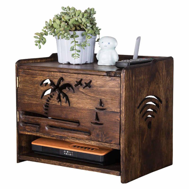 에코-친화적 인 단단한 나무 보드 무선 와이파이 라우터 스토리지 박스 브래킷 케이블 스토리지 랙 홈 장식