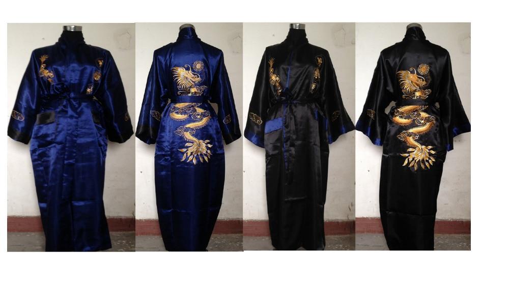100% Wahr Navyblue/schwarz Chinesischen Stil Herren Doppel-gesicht Reversible Kimono Robe/kleid Stickerei Drachen Nachtwäsche M L Xl Xxl 3xl