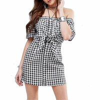 2017 Ebay Europe And Lattice Led A Word Hot Style Ladies Fashion Sexy Lace Up Dress