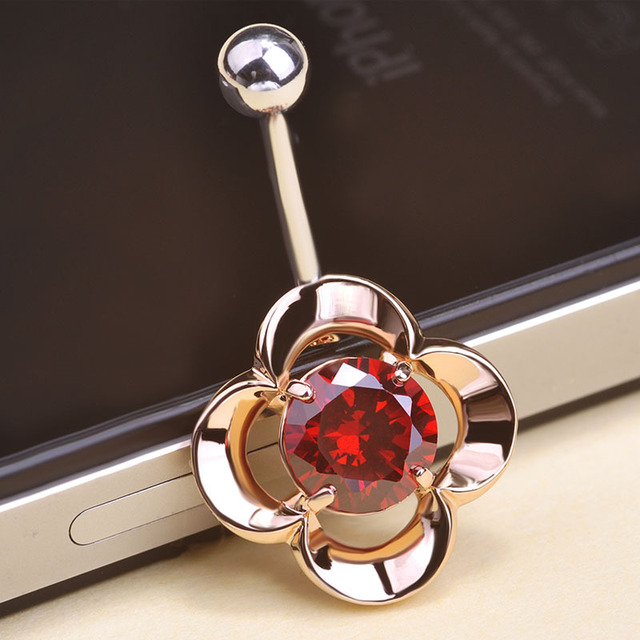US $4 39 35% OFF|Stone Flowers Rose Piercing Navel 316L Stainless Steel  Belly Button Rings Bar Percing Sexy Body Jewelry Women Accessories VAZ-in  Body