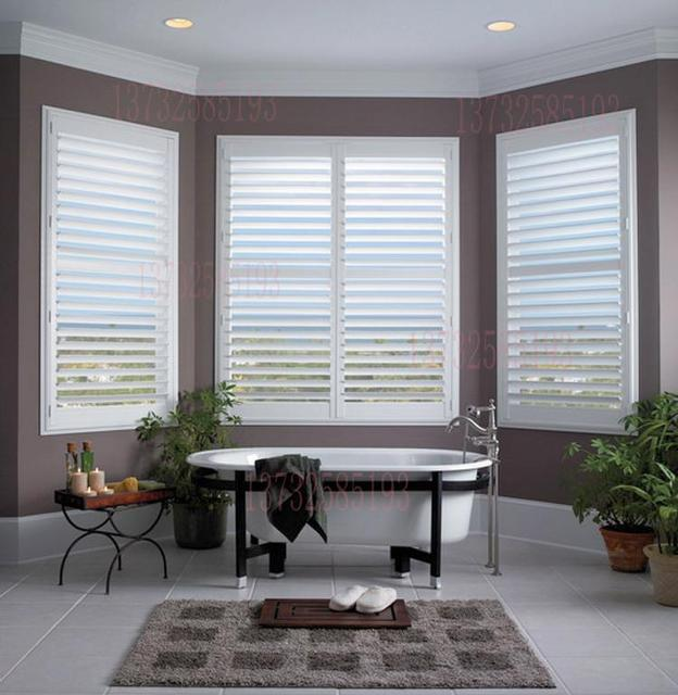 Custom Engineered Wood Shutter Venetian Blinds Breathable Bathroom