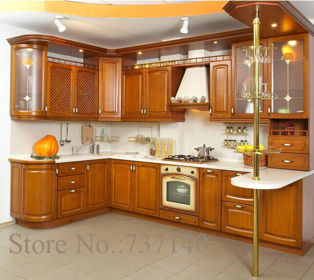 Elegant L Shaped Solid Wood Kitchen Cabinets Latest: Solid Wood Kitchen Cabinet American Kitchen-in Kitchen