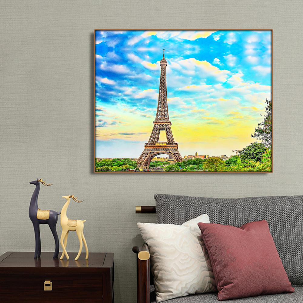 France Paris Places of Interest Wall Art Canvas Painting Calligraphy Poster Print Decorative Picture for Living Room Home Decor in Painting Calligraphy from Home Garden