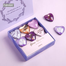 Никогда фиолетовые в форме сердца стеклянные магниты шпильки