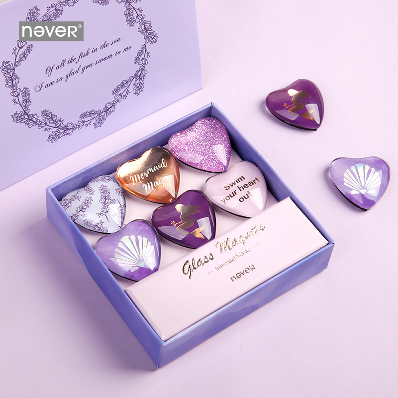 Never Purple Hearts Shaped Glass Magnets Pins Thumb Tack Office Wall Pins For White Board Office Decoration Gift Stationery 6pcs