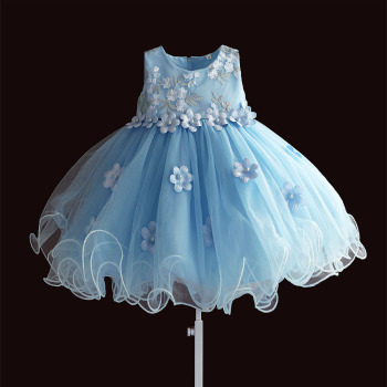 Hetiso Baby Girls Kid Princess Flower Dress Appliques Pearl Lace Tutu Dresses Infant Clothing Birthday Party 6M-12M-24M-36M-4T